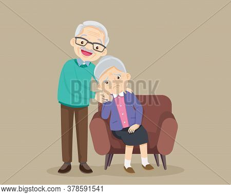 Sad Elderly Woman Bored, Sad Senior Woman Sitting And Senior Man Comforting Upset Her,grandfather Co