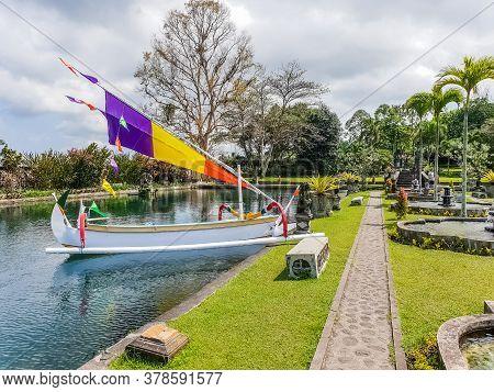 Bali, Indonesia - September 18: View Of Boat In Pond In Tirta Gangga Temple At September 18, 2018 In