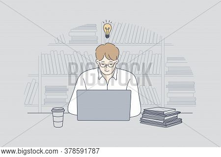 Business, Work, Success, Thought, Problem, Business, Freelance Concept. Young Businessman Guy Studen
