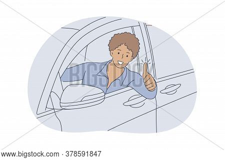 Auto, Buy, Driving, Approval Concept. Young Happy Smiling African American Man Guy Cartoon Character