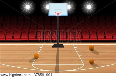 Wooden Basketball Court And Red Chairs In The Hall