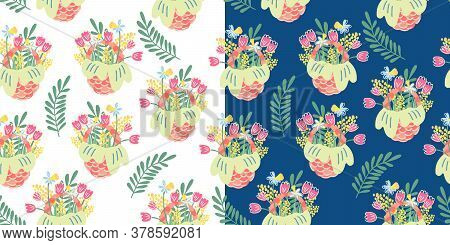 Two Vector Seamless Patterns With  Nice Wicker Baskets And Spring Flowers And Leaves. Tulip, Mimosa