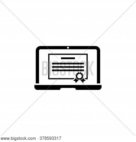 Online Courses Diploma, Distance Global Education. Flat Vector Icon Illustration. Simple Black Symbo