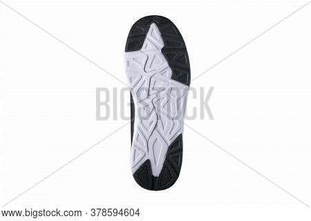Rubber Soles Of Shoes In White And Black.