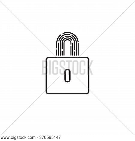 Security Abstract Minimal Line Icon With Lock And Fingerprint