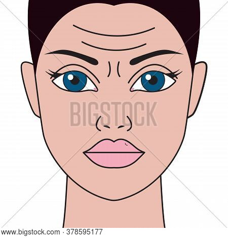 Wrinkles On Womans Forehead. Facial Wrinkles In Girl. Vector Illustration