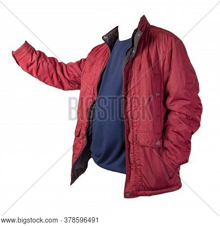 Red Jacket And Dark Blue Sweater Isolated On White Background.bologna Jacket And Wool Sweater