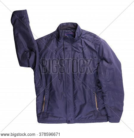 Mens Dark Blue Jacket In A Hood Isolated On A White Background. Windbreaker Jacket Top View. Casual