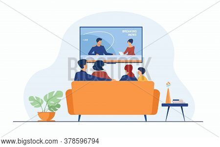 Breaking News Concept. Back View Of Family Couple And Children Sitting On Sofa In Living Room, Watch