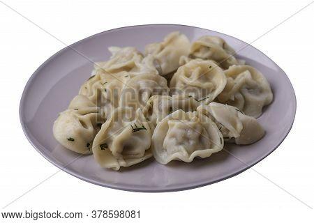 Dumplings On Light Gray Plate Isolated On White Background .boiled Dumplings.meat Dumplings Top View