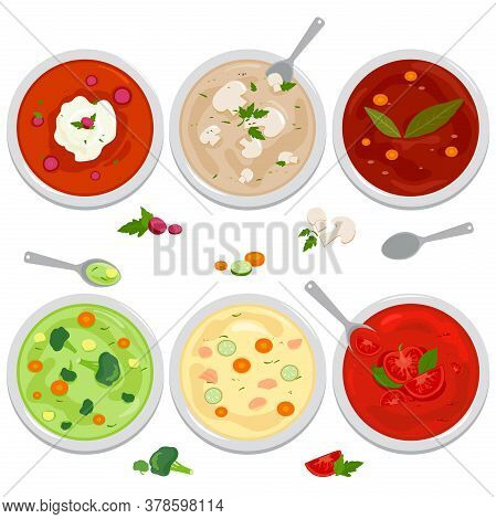 Vector Set Of Bowls Of Soup With Vegetables, Mushrooms, Chicken, Russian Borscht Soup, Tomato And Le