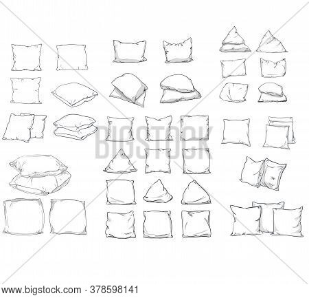 Big Set Bed Pillow. Collection Sketch Vector Illustration Of Pillow Isolated.