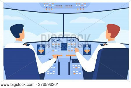 Aviation And Flight Concept. Airplane Pilots And Copilot Navigating Plane From Cabin. Airplane Crew
