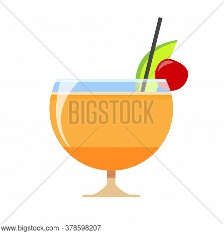 Delicious Cocktail In A Wide Glass. Slice Of Lime With Cocktail Cherry And Mango Juice. Vector Illus