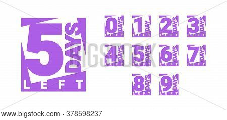 Countdown Left Days Banner. Count Time Sale. Nine, Eight, Seven, Six, Five, Four, Three, Two, One, Z