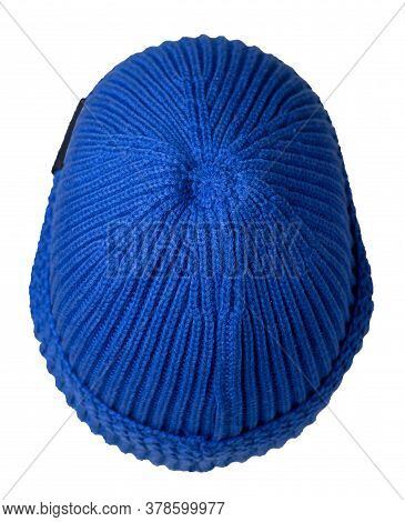 Docker Knitted Blue Hat Isolated On White Background. Fashionable Rapper Hat. Hat Fisherman