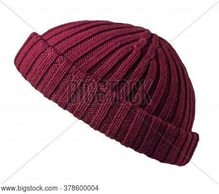 Docker Knitted Burgundy Hat Isolated On White Background. Fashionable Rapper Hat. Hat Fisherman