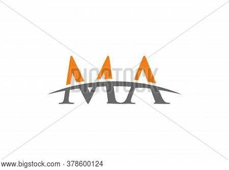 Letter Ma Logo Vector Gold Template. Ma Letter Linked Logo For Business And Company Identity.