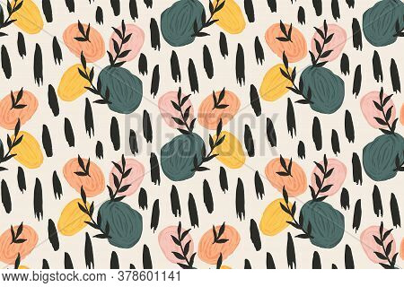 Stones And Leaves Abstract Vector Pattern. Colourful Painted Stones With Black Leaves And Black Brus