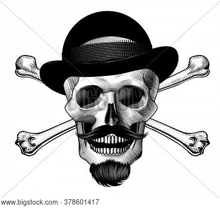Vintage monochrome skull of a gentleman in a hat with a beard and mustache. Vintage  emblem, label, badge, logo. Vintage engraving stylized drawing