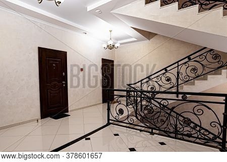 Doors In Modern Entrance Hall Of Corridor In Expensive Apartments.