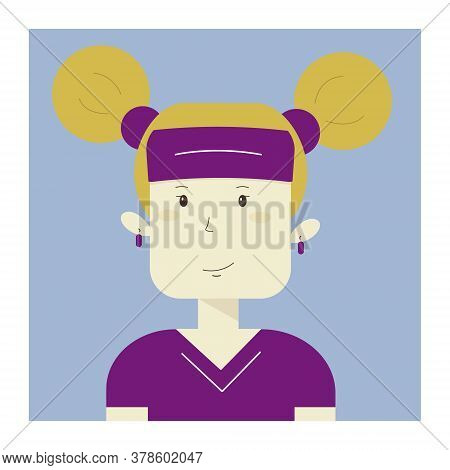 Vector Illustration Of A Sporty Caucasian Girl. Fitness Workout. Athletic Smiling Woman For Web, Des