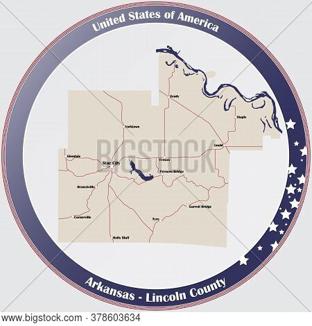 Round Button With Detailed Map Of Lincoln County In Arkansas, Usa.