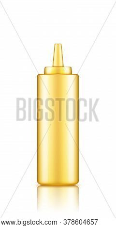 Yellow Plastic Squeeze Mustard Bottle With Cap Mockup