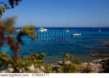 View Of Beautiful Nature Of The Corsica Island, France, Mountains Seascape Background. Horizontal Vi