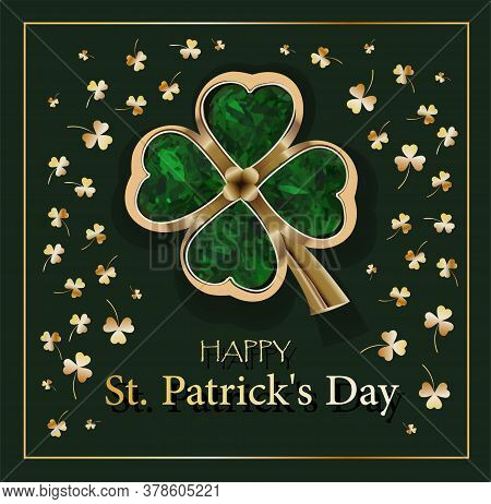 Clover Sheet On A Green Background. Jewelery. Golden Clover. Chic Postcard For Saint Patricks Day.