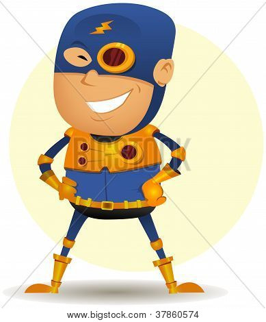 Illustration of a cartoon happy blue masked super hero character with gold armor and special weapons poster
