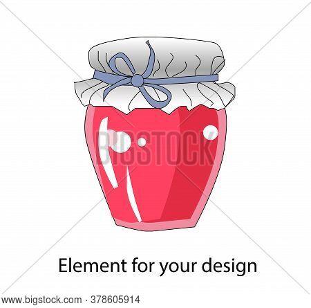 Jar Of Jam. Jam. Sweet Canning. Illustration Isolated On A White Background..