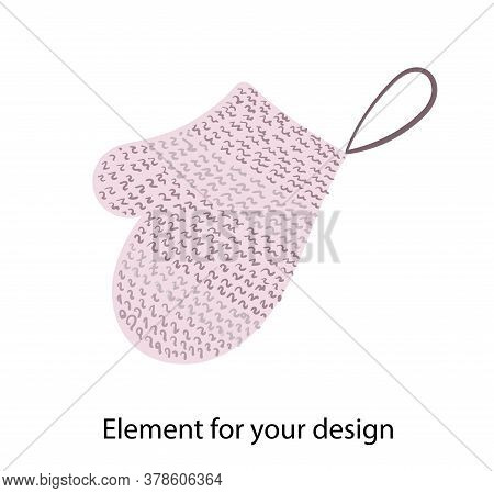 Mitten For Washing. Natural Bath Accessories. Bast. Illustration On A White Background. Element For