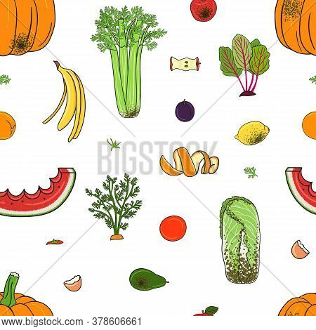 Seamless Pattern Of Organic Compost Garbage. Rot Fruits And Vegetables.