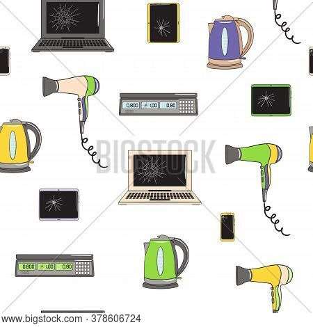 Seamless Pattern Of E-waste And Broken Equipment