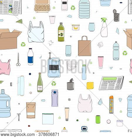 Seamless Pattern Of Colorful Garbage. Recycle Concept.