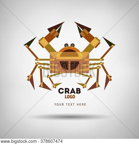 Abstract Geometrical Style Crayfish Logo. Vector Isolated Emblem