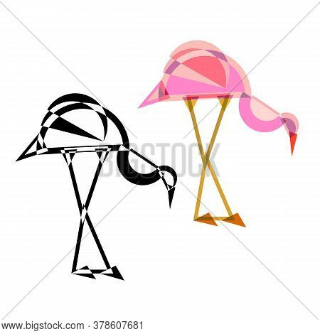 Abstract Geometrical Style Heron Bird. Color And Black Variation. Vector Isolated Icons