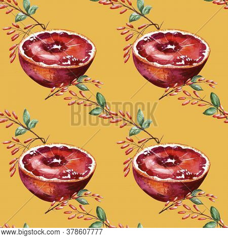 Mustard Pattern With Half A Sicilian Orange And Barberry