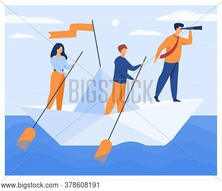 Business Team Rowing Corporate Boat With Paddles While Boss With Spyglass Looking Faraway. Vector Il