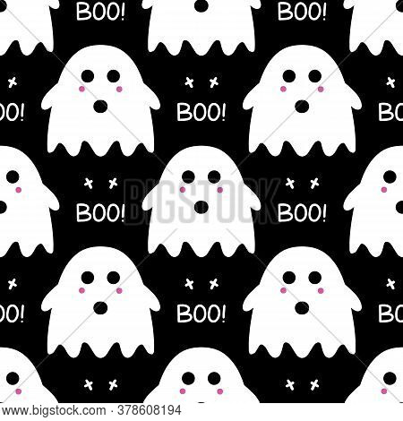 Cute Ghost With Pink Blush, Cross And Boo Lettering As Seamless Pattern On Black Background. Hallowe