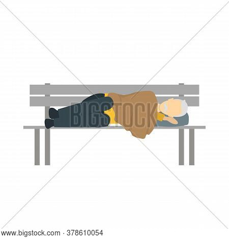 Cartoon Color Character Homeless Person On Bench Needy In Social Help Concept. Vector Illustration O