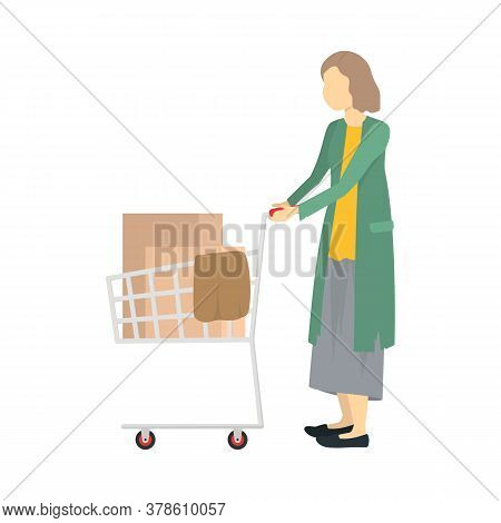 Cartoon Color Character Homeless Person With Trolley Needy In Social Help Concept. Vector Illustrati