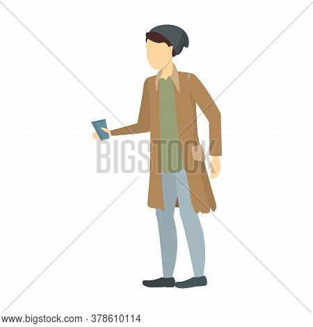 Cartoon Color Character Homeless Person And Glass Needy In Social Help Concept. Vector Illustration