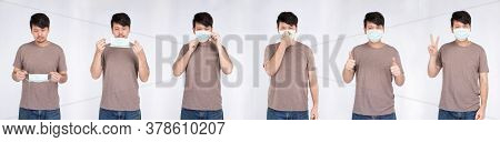 Collage Picture Of Asian Man Demonstration Of Use Surgical Face Mask Isolated On White Background Fo