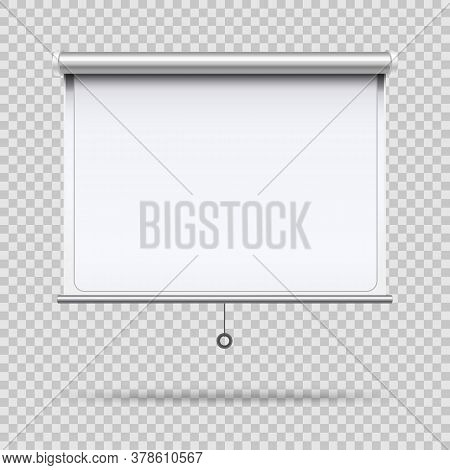 Realistic 3d Detailed White Blank Projector Screen For Presentation, Education, Seminar, Cinema And
