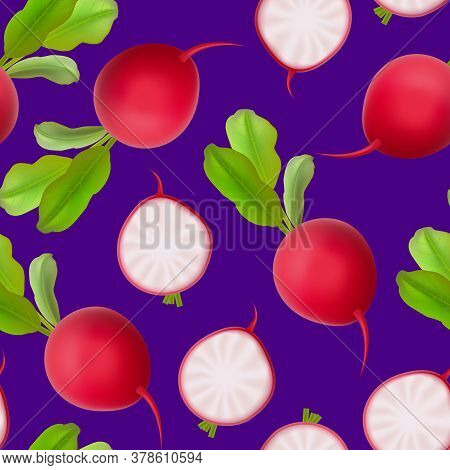 Realistic 3d Detailed Fresh Whole Radishes Seamless Pattern Background. Vector Illustration Of Healt