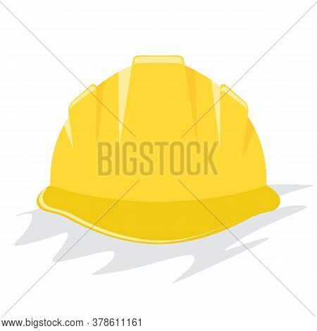 Yellow Helmet Or Construction Hardhat. Flat And Solid Color Vector Illustration.