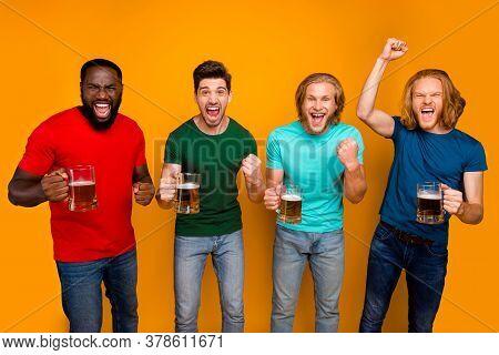 Ecstatic Crazy Four Pals Men In Pub Watch Football Championship Celebrate Team Win Raise Fists Screa
