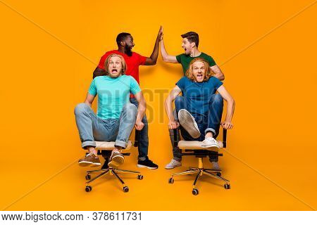 Full Size Photo Two Men Afro American Meeting Hold Hands High Five Gesture Persuade Blonde Hair Pals